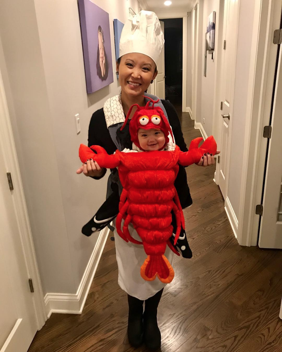 Lobster and chef baby carrier costume