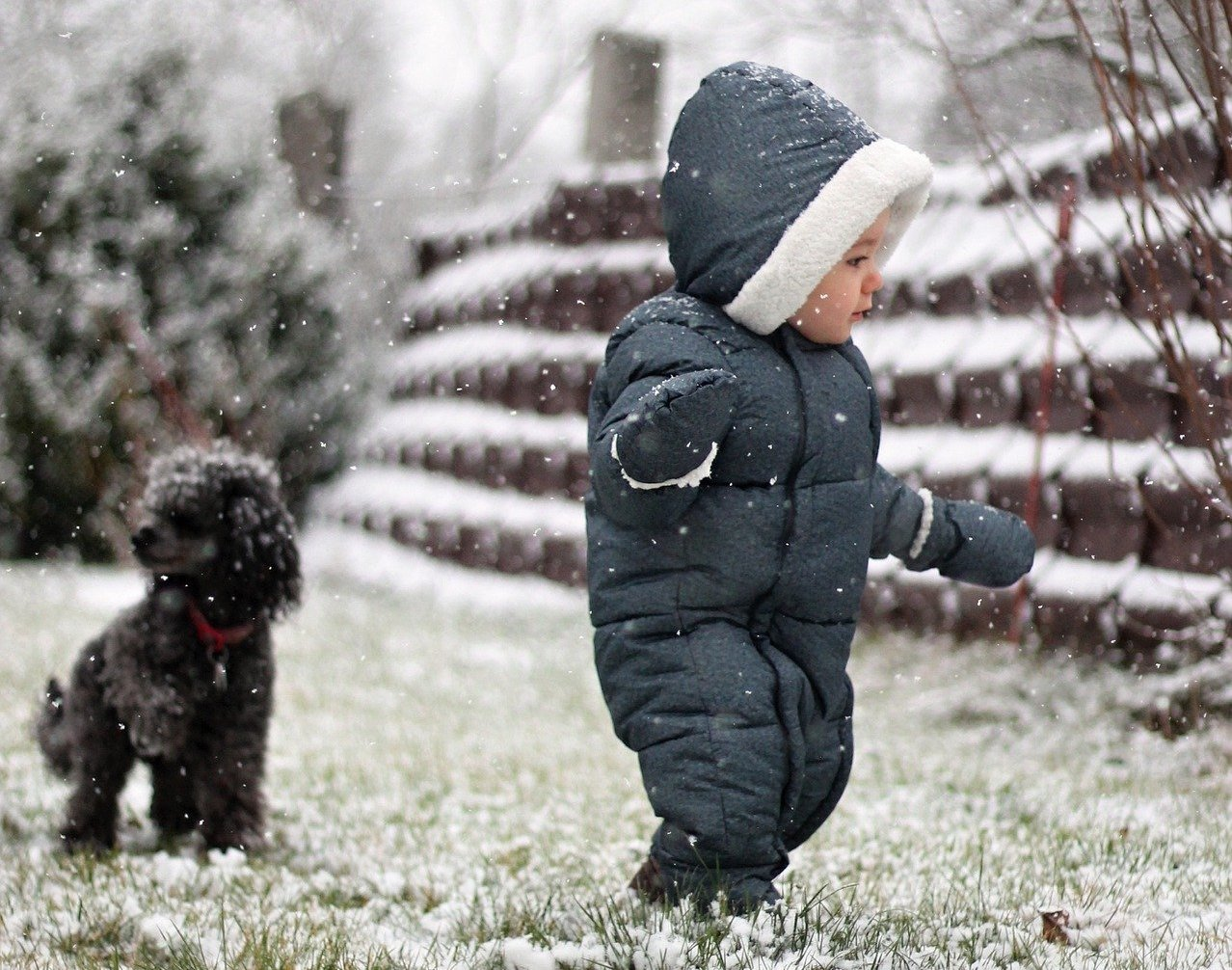 Baby and dog playing in snow